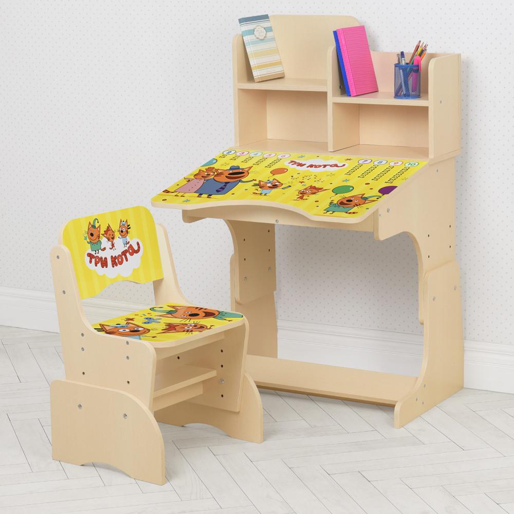Детская регулируемая парта со стульчиком растишка Bambi W 2071-103-8 / цвет Три кота венге**