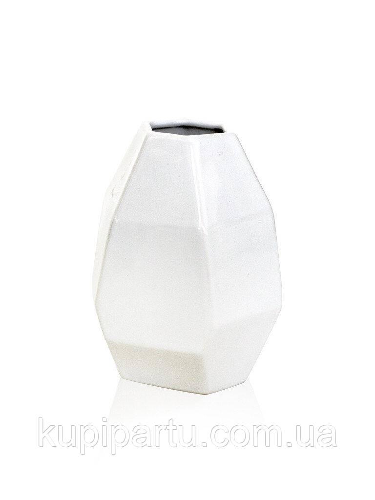 Ваза полигональная Грани белая керамика 9*9*12 см Гранд Презент 2500-12