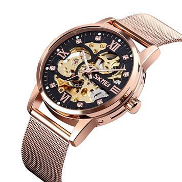 Механические мужские часы скелетон Skmei 9199 розовое золото
