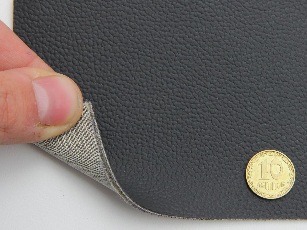 Шкірзамінник чорний для сидінь авто (текстурний матовий 10-135) на поролоні і сітці, товщина 2 мм, ширина 1.40м
