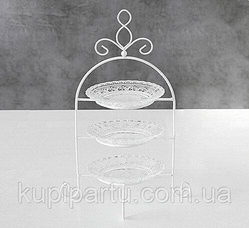 Этажерка белое стекло h32см Гранд Презент 1014083