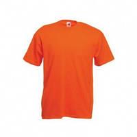 Оранжевая футболка мужская однотонная хлопковая