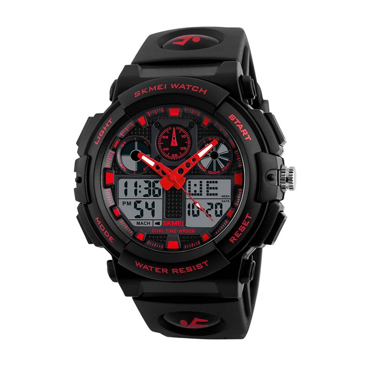 SKMEI 1270 черный-красный мужские спортивные  часы