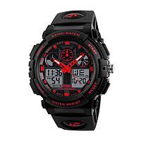 SKMEI 1270 черный-красный мужские спортивные  часы, фото 1