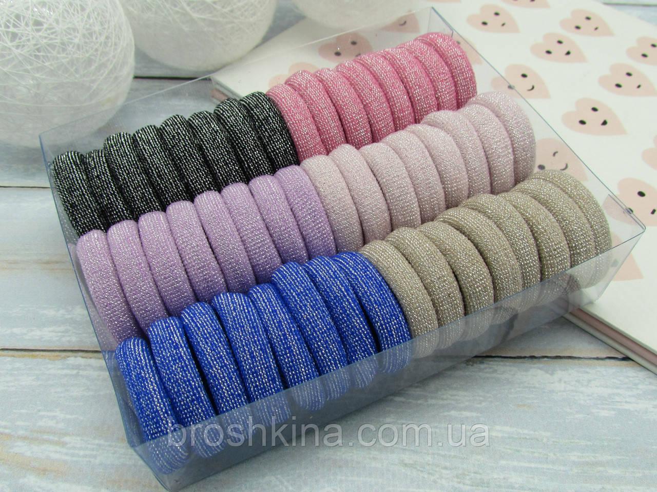 Гумки для волосся мікрофібра люрекс Ø3 см 48 шт. в коробці