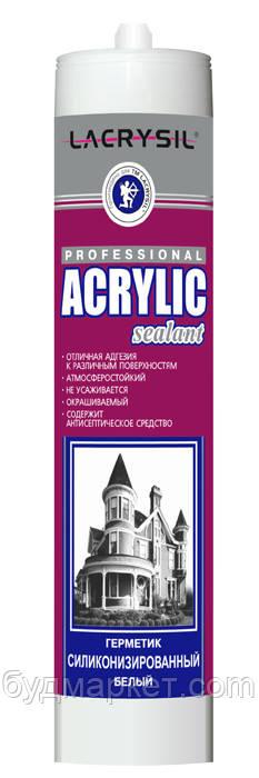 Герметик силіконізований акриловий білий Lacrysil, 280 мл