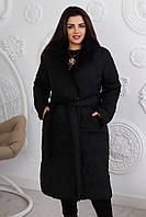 Женская зимняя куртка-пальто синтепон 250 норма и батал новинка 2021, фото 1