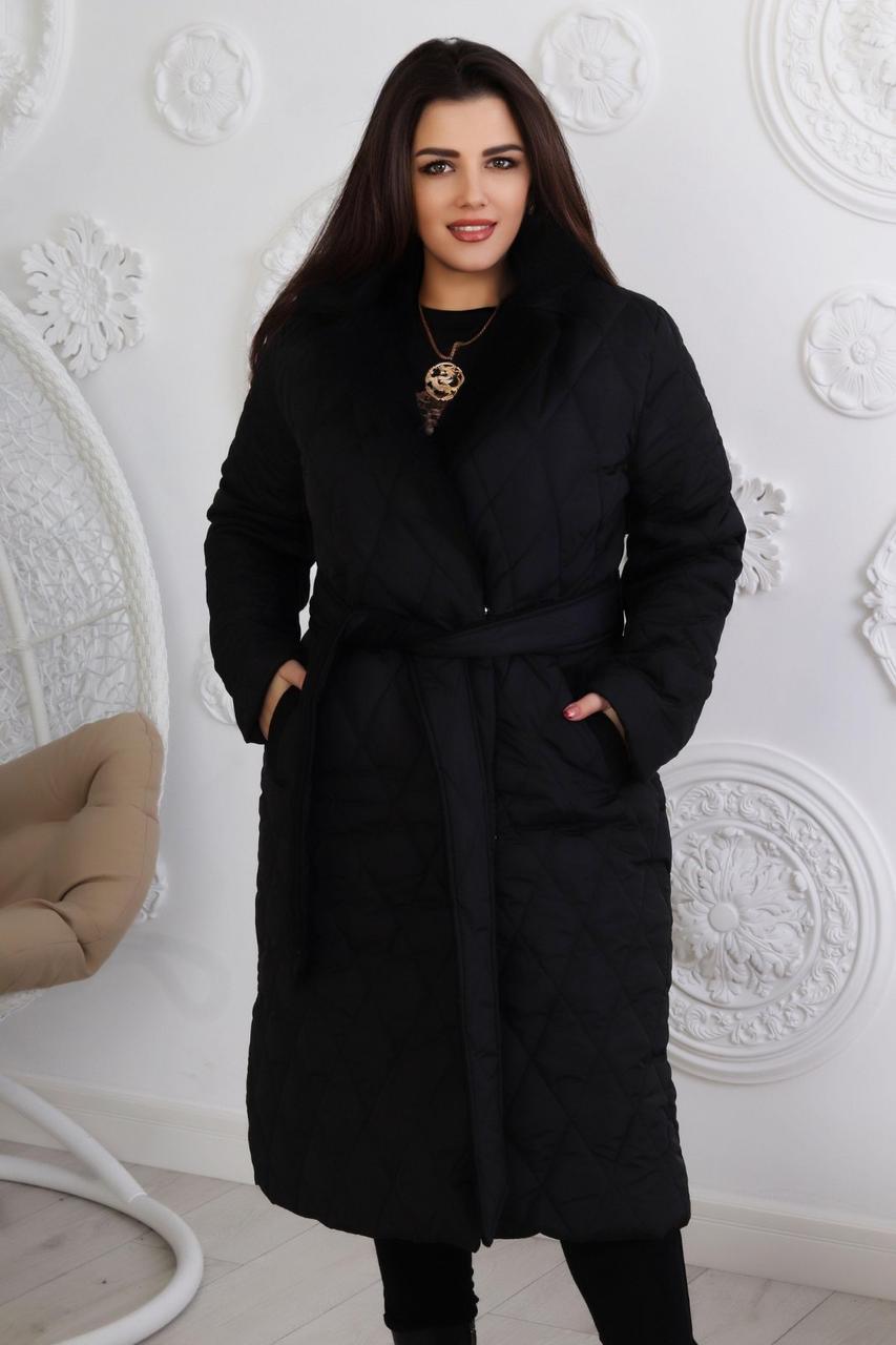 Женская зимняя куртка-пальто синтепон 250 норма и батал новинка 2021