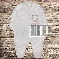 Чоловічок сліп бодік р. 56 немовляті теплий флісовий фліс начіс для дівчинки тканина ЕВРОФУТЕР 4490 Рожевий