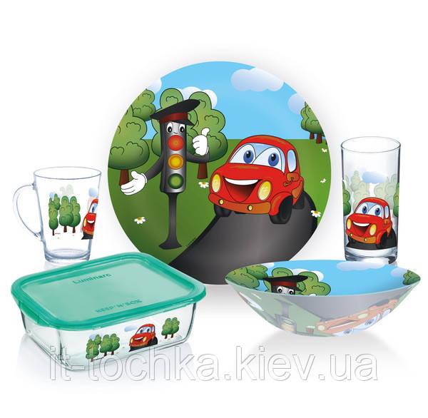 Набір дитячої посуди із мультфільма luminarc vroom 5 предметів (p7868)