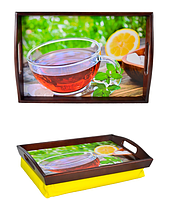 Поднос на подушке с ручками 32,5х47,5х11см Черный чай