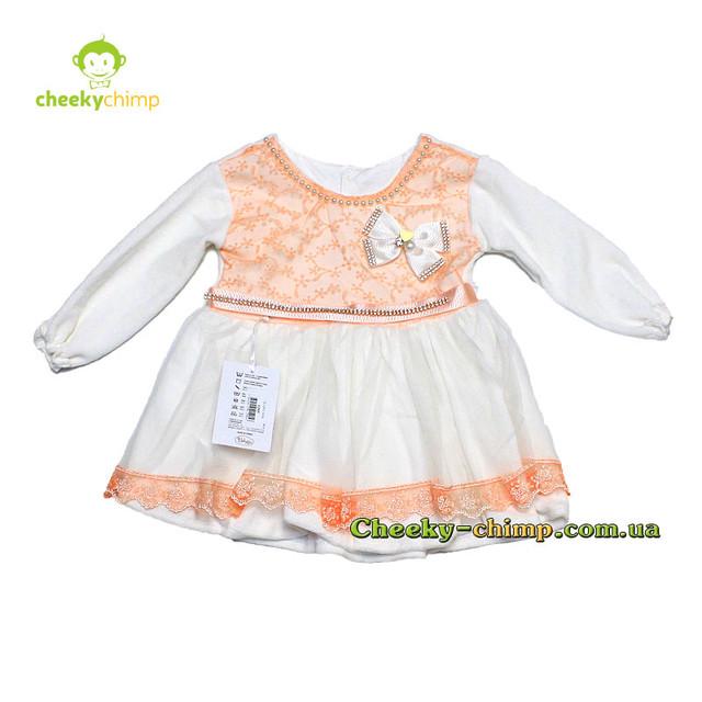 Бархатное платье с гипюром на девочку 9, 12, 18, 24 мес