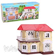 Ляльковий будиночок Двоповерховий зі звірятами з флокса (аналог Sylvanian Families) 012-01