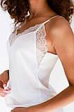 Комплект шелковый шорты + майка на бретельках с кружевом SWAM LACE, L молочный, фото 2