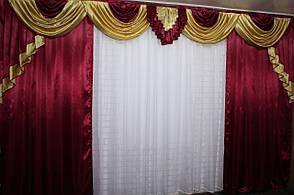 Комплект (4х2,7м)  ламбрекен  с шторами на карниз 4м. №74, цвет бордовый с золотом 79-011