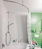 Радиусная / дуговая одинарная штанга - сантехника для шторки в душ или ванну, Ø 20мм, 25мм, 30м, 32мм
