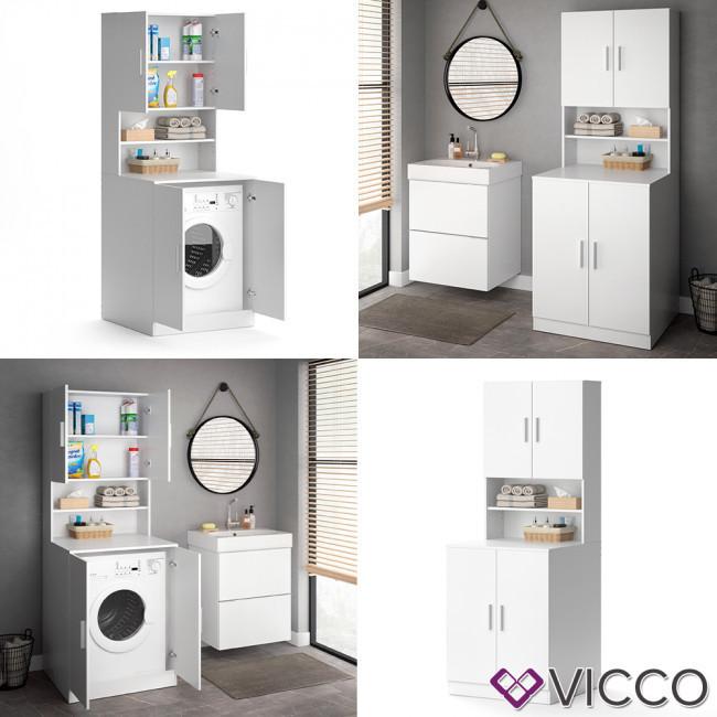 Шкаф для стиральной машины 190x70, Vicco белый