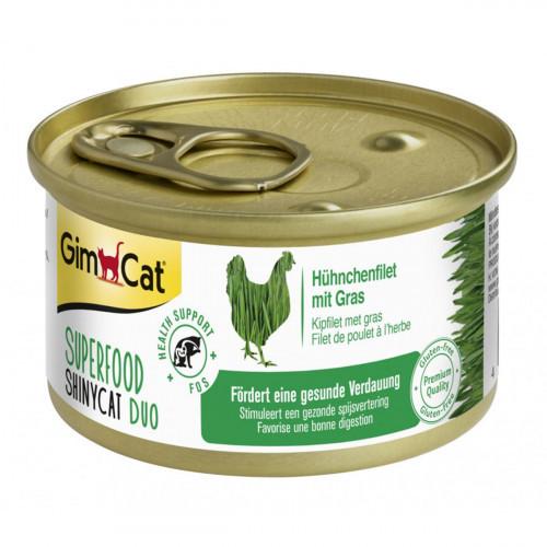 Влажный корм GimCat Shiny Cat Superfood для кошек, с курицей и травой, 70 г