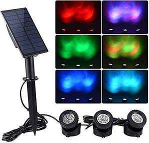 Підсвічування для ставка на сонячних батареях 3 в 1 RGB
