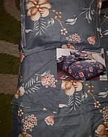 Байковый комплект постельного белья Байка ( фланель) Цветы на синем