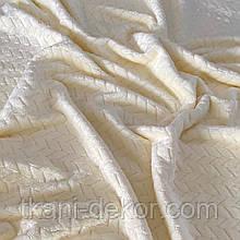 Ткань плюшевая Minky молочного цвета (косичка)