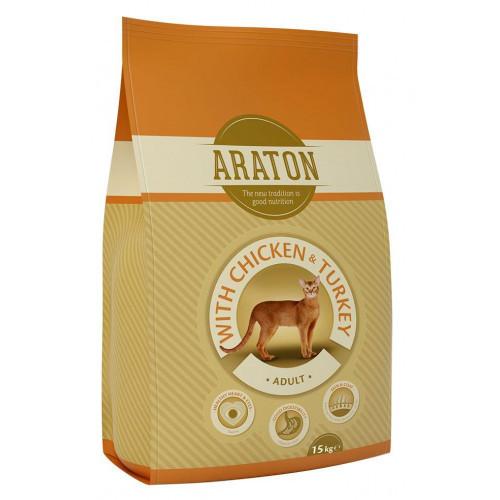 Сухой корм Araton Adult With Chicken & Turkey для кошек весом от 1 до 8 кг, 15 кг