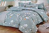 Байковый комплект постельного белья Байка ( фланель) Ветка Сине - серого цвета, фото 7