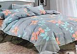 Байковый комплект постельного белья Байка ( фланель) Ветка Сине - серого цвета, фото 10