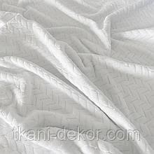 Ткань плюшевая Minky белого цвета (косичка)
