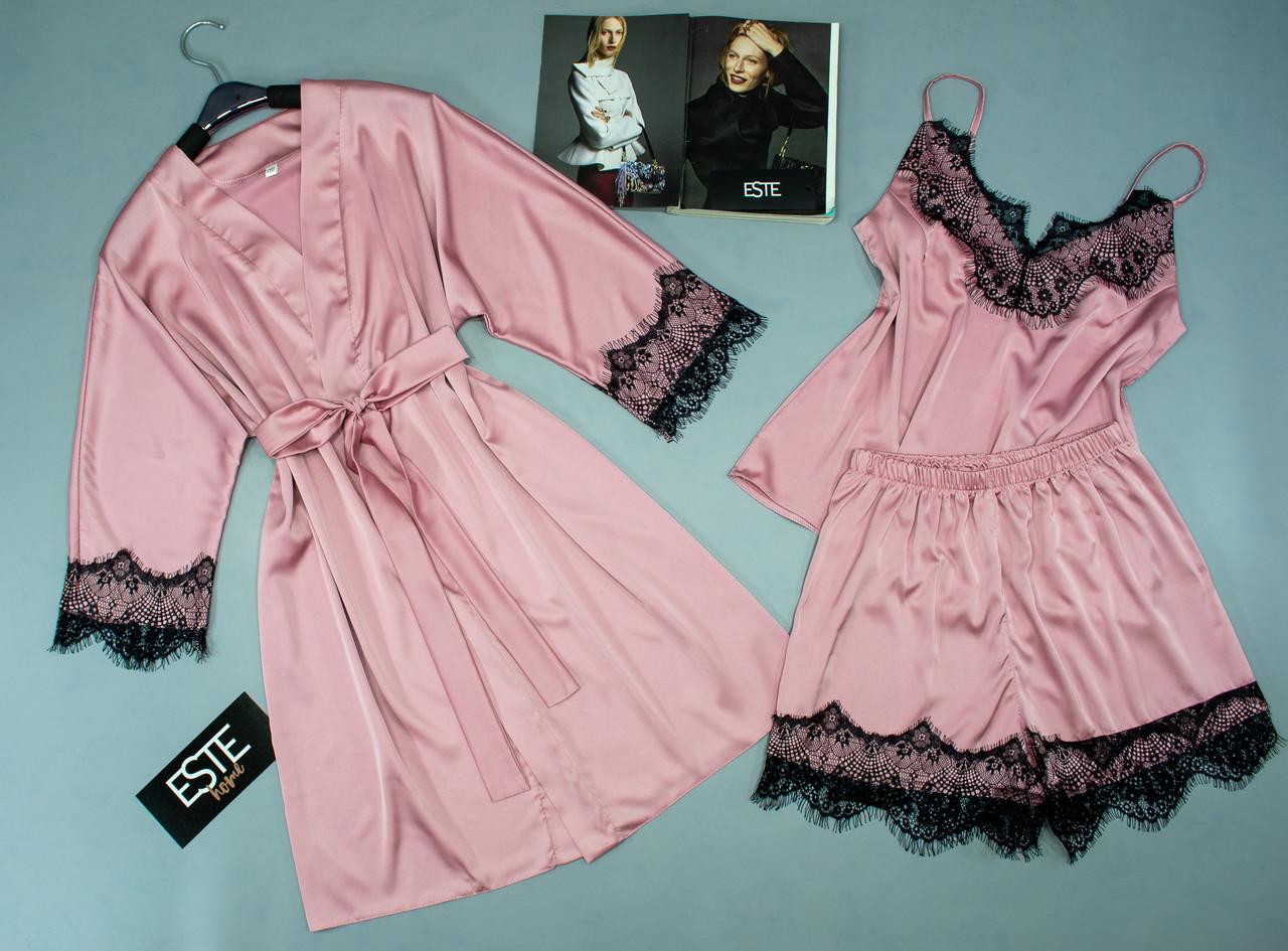 Розовый шелковый комплект халат и пижама ( майка+шорты) с черным кружевом Este .