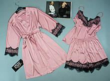 Рожевий шовковий комплект халат, піжама ( майка+шорти) з чорним мереживом Este .