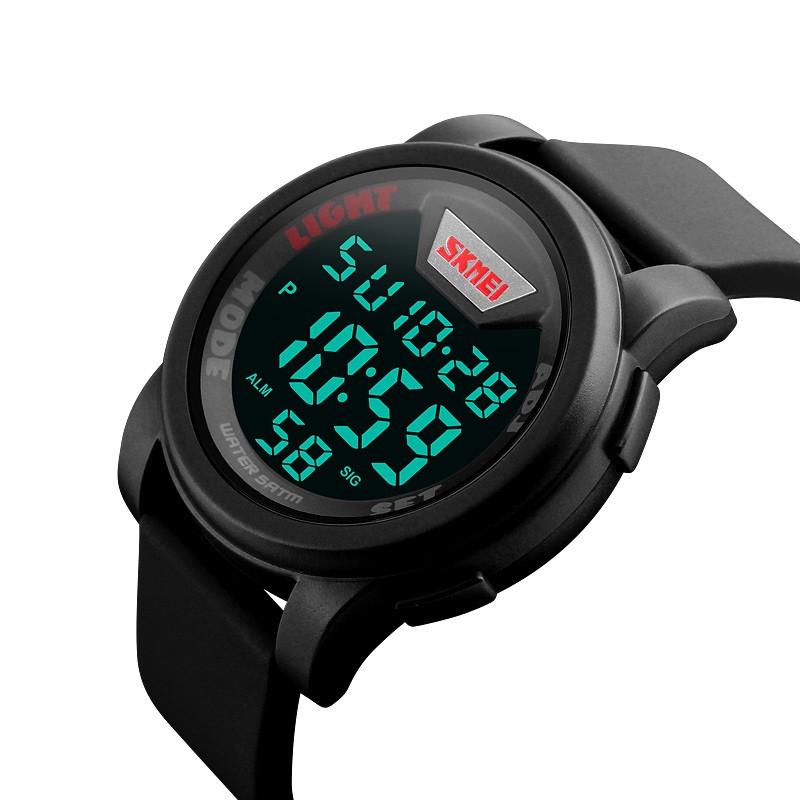 Skmei 1218 черные мужские спортивные часы