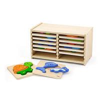 Набор деревянных мини-пазлов Viga Toys со стойкой для хранения, 12 шт. (51423), фото 1