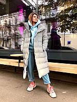 Женский теплый стильный пуховик пальто из светоотражающей плащевки, утеплитель аэропух с тинсулейтом.