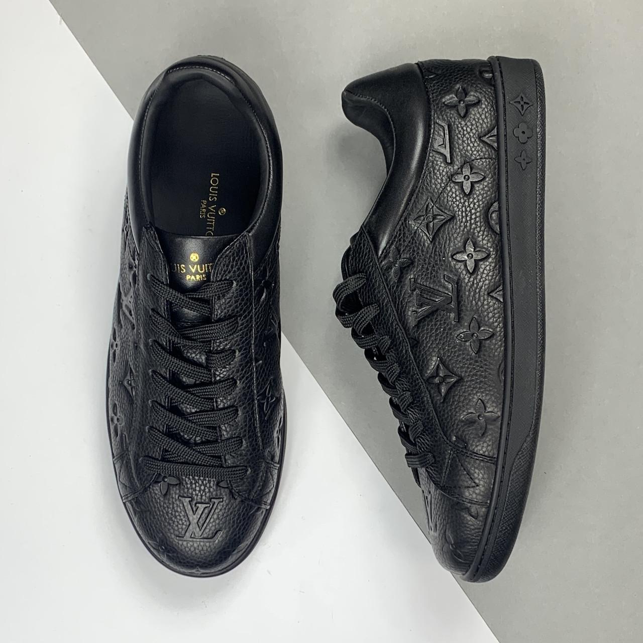 Мужские кожаные черные кеды Louis Vuitton (Луи Виттон) арт. 39-95
