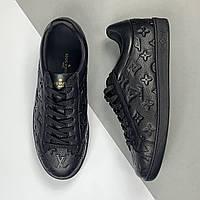 Мужские кожаные черные кеды Louis Vuitton (Луи Виттон) арт. 39-95, фото 1