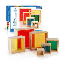 Деревянный конструктор детский набор блоков Guidecraft Block Play Цветная Пирамидка Guidecraft (G5066)