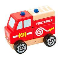 Дерев'яна пірамідка Viga Toys Пожежна машинка (50203), фото 1