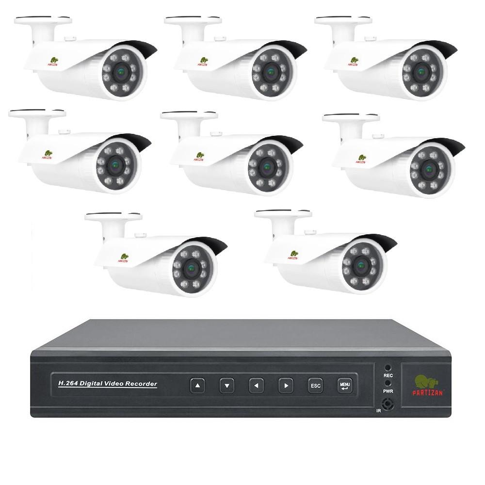 AHD Pro комплект Partizan для зовнішнього спостереження 2 MP на 8 камер