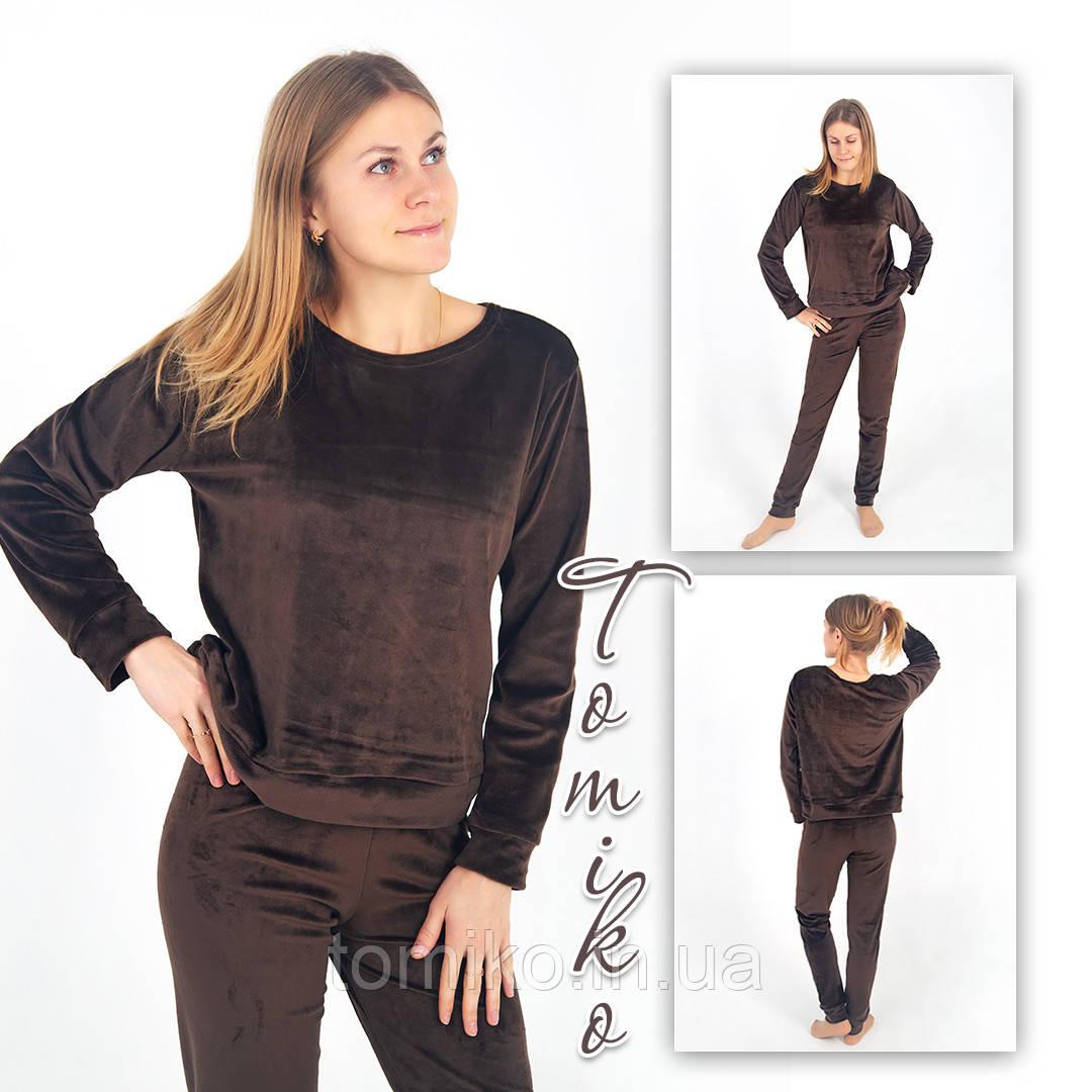 Женский костюм с длинным рукавом  велюровый шоколад