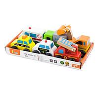 Набор деревянных игрушечных машинок Viga Toys Спецтранспорт, 6 шт. (59621), фото 1