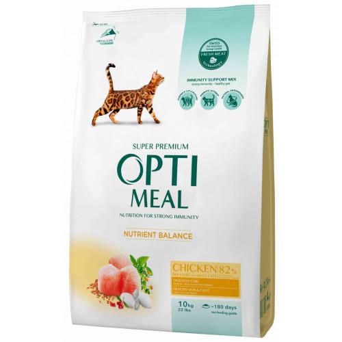 Сухой корм Optimeal для взрослых кошек, с курицей, 10 кг