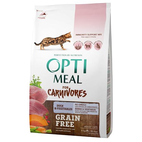 Беззерновой сухой корм Optimeal для взрослых кошек, с уткой и овощами, 4 кг