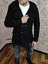 Чоловіче двобортне Пальто з кашеміру з капюшоном., фото 2