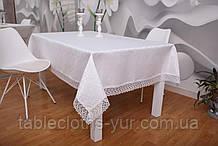 Скатертина Святкова з Мереживом 110-150 3D «Glamor» Прямокутна з дрібним візерунком Біла №1