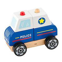 Деревянная логическая геометрическая пирамидка Viga Toys Полицейская машинка (50201), фото 1