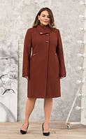 Пальто женское кашемировое -Л-616 кирпич