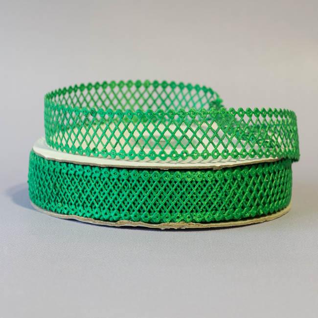 Тесьма атласная сетка 2 см зеленый