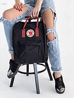 Рюкзак шведської марки Kanken Fjall Raven 16L Black/Bordo, фото 1