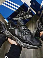 Чоловічі кросівки Adidas Ozweegо Black Leather, фото 1